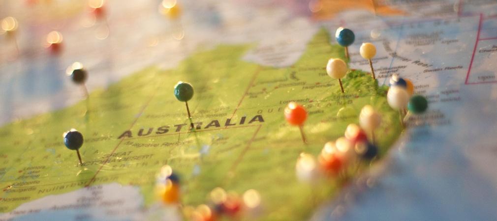 Australie op de kaart