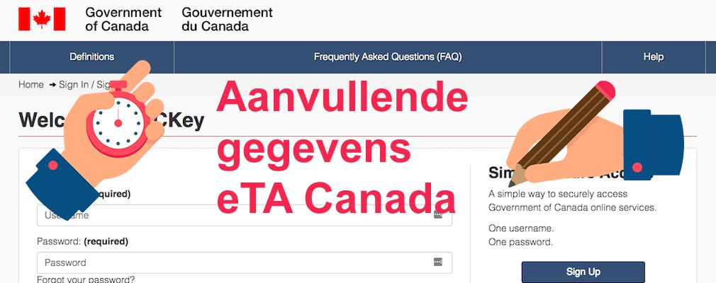 Aanvullende gegevens voor het Canadese eTA vereist, wat te doen?