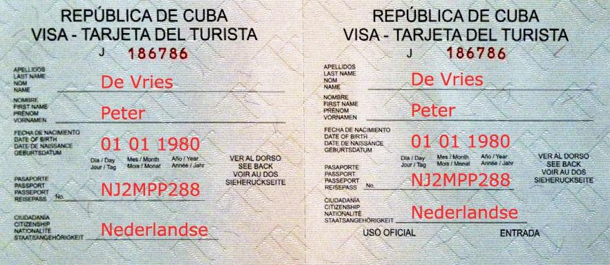 Voorbeeld van het visum Cuba