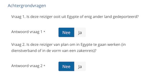 Achtergrondvragen invullen voor het visum Egypte