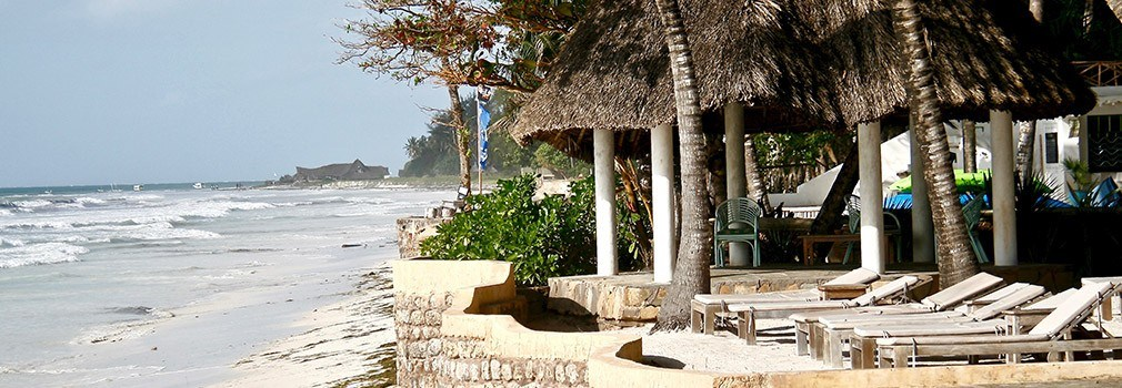 Een resort aan Diani Beach in Kenia