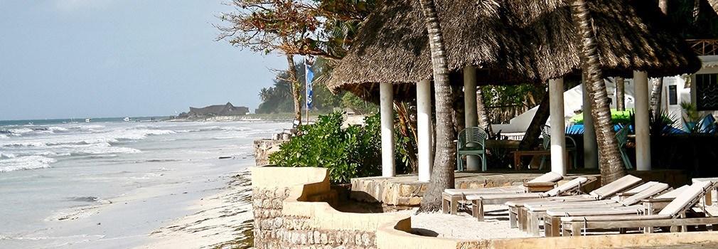 Een resort aan Diani Beach in Kenia