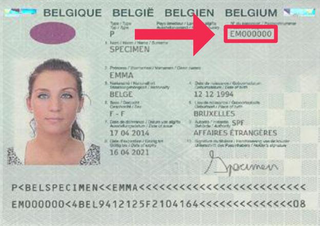Het documentnummer op het Belgische paspoort