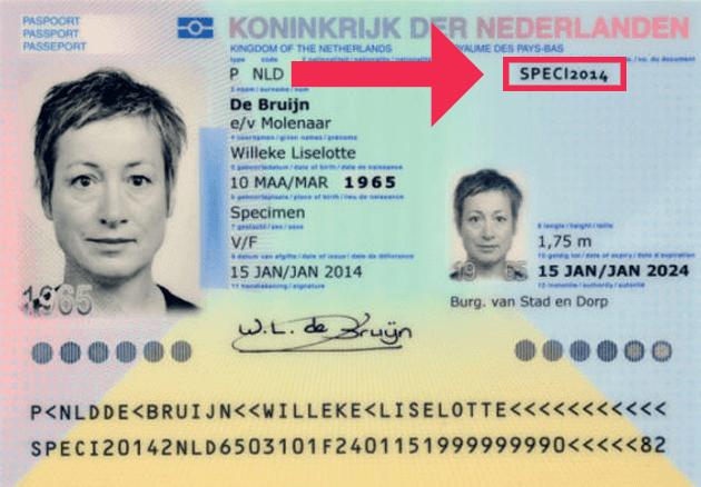 Het documentnummer op het Nederlandse paspoort
